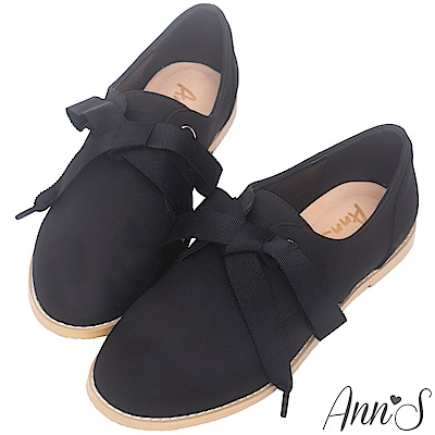 Ann'S活力樂園-織帶蝴蝶結休閒平底鞋-黑