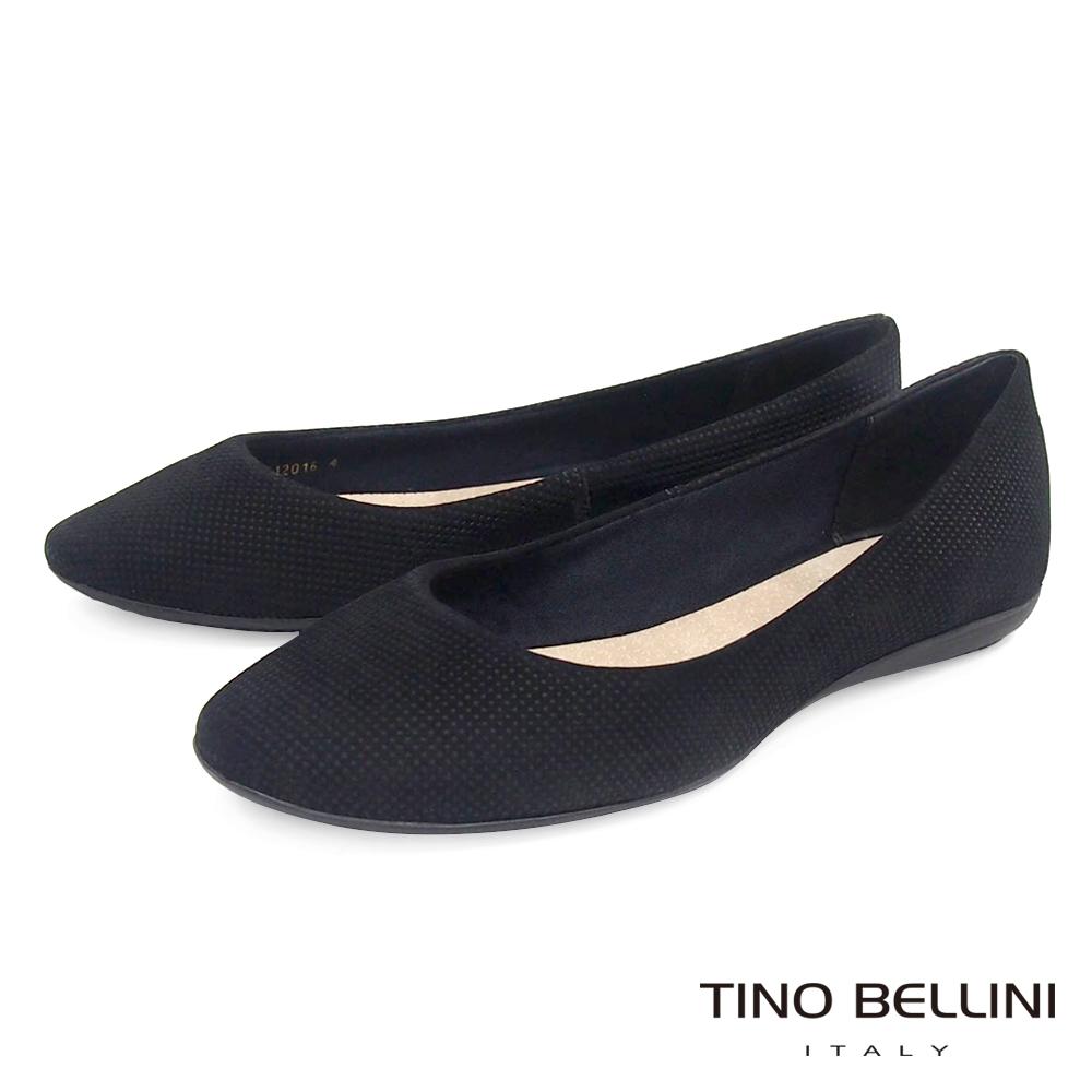 Tino Bellini 巴西進口點點壓紋娃娃鞋_黑
