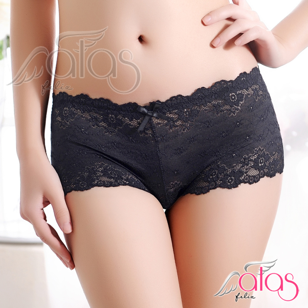 平口內褲 綺麗光影法式蕾絲性感內褲 (黑色) alas