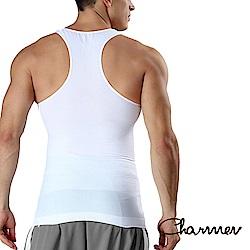 男性塑身衣 工字型交叉挺背束胸背心  白色 Charmen