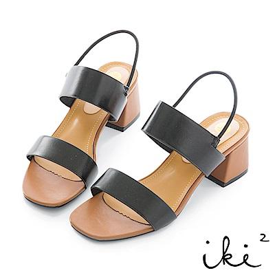 iki2 簡約一字鬆緊繫帶低跟涼鞋-黑