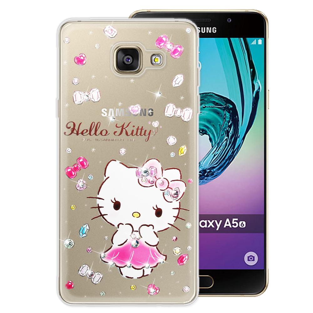 三麗鷗 Kitty 三星 Galaxy A5 (2016) 水鑽系列透明手機殼(蓬裙凱蒂)