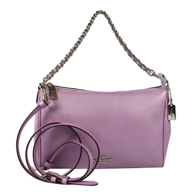 COACH 金屬logo金屬色澤荔枝牛皮拉鍊兩用鍊包(粉紫)