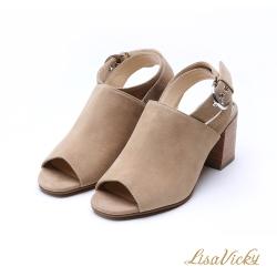 LisaVicky復古繞帶露趾魚口穆勒款粗跟涼鞋-深棕色