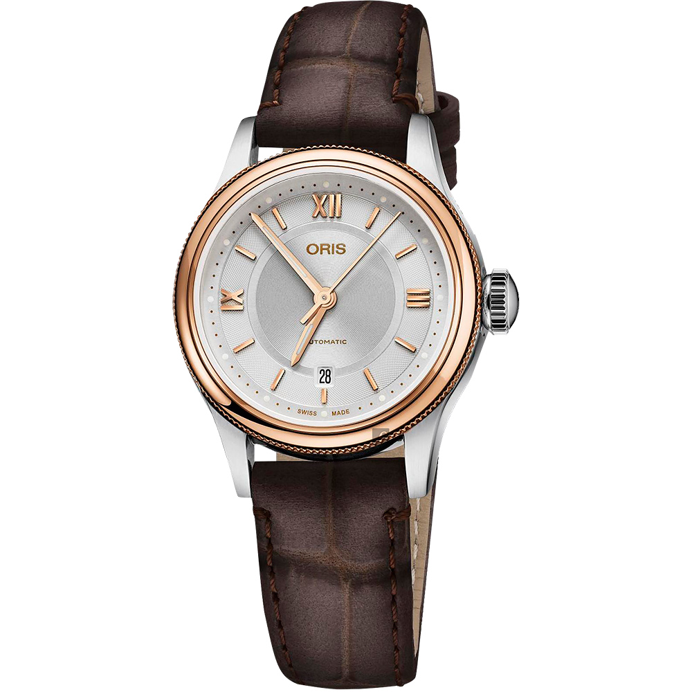 Oris豪利時 Classic Date 都會時尚機械女錶-玫塊金框x咖啡/28.5mm