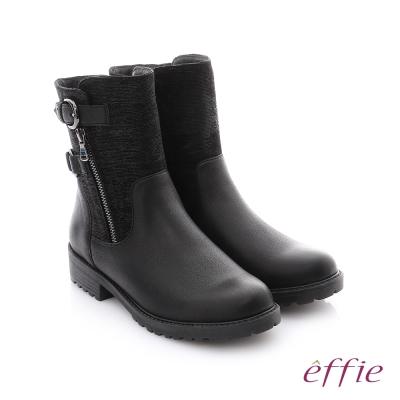 effie 個性美型 防潑水麂皮扣帶拉鍊中筒靴 黑色