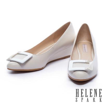 楔型鞋-HELENE-SPARK-烤漆方釦羊皮楔型高跟鞋-灰