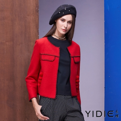 YIDIE衣蝶 針線毛球口袋羊毛外套-紅