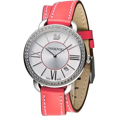 SWAROVSKI 施華洛世奇 Aila Day 雙環魅力腕錶-紅莓/37mm
