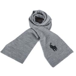 RALPH LAUREN POLO 大馬LOGO素面針織羊毛圍巾-灰黑色