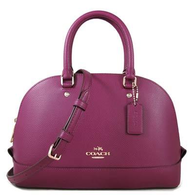 COACH-金馬車Logo鵝卵石紋防刮皮革保齡球兩用包-紫苺色