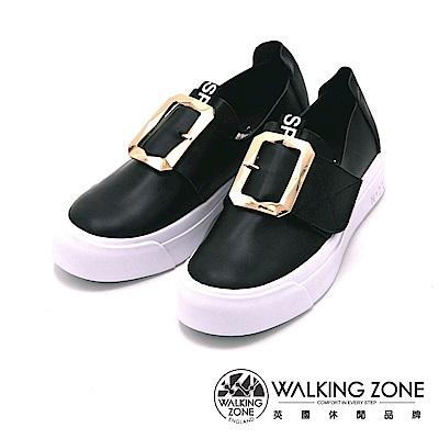 Walking Zone 真皮 方扣環小白鞋 便鞋 樂福鞋-黑