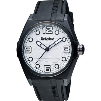 Timberland Radler 中性時尚腕錶-白x黑色錶帶/42mm