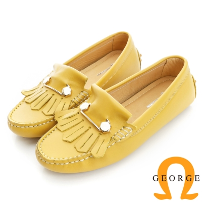 GEORGE 喬治-舒適系列 縫線包仔鞋 牛皮流蘇鉚釘休閒鞋(女)-黃色