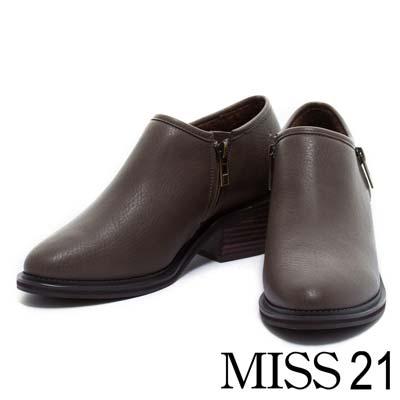 踝靴MISS 21質感尖頭木紋粗跟踝靴-咖