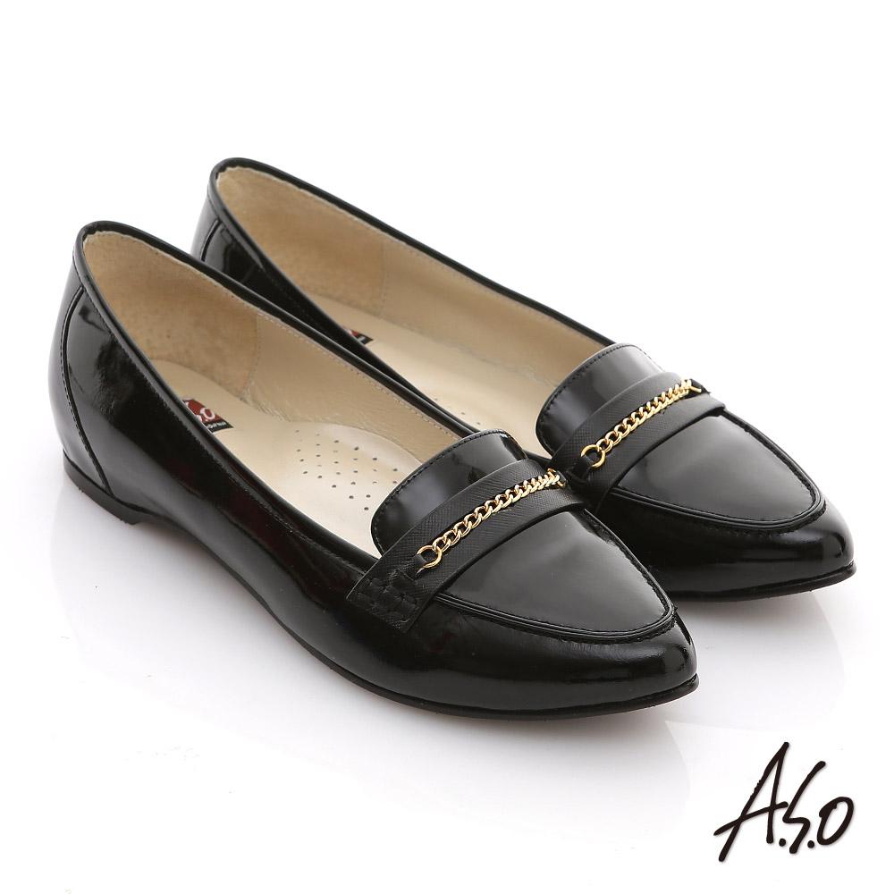 A.S.O 減壓美型 全真皮鏡面窩心尖頭平底鞋 黑