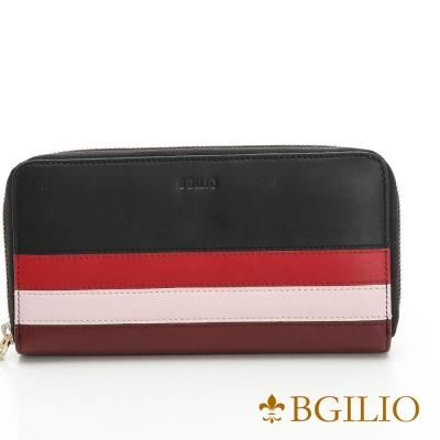 義大利BGilio - NAPPA牛皮經典條紋拉鏈長夾(限量)-黑色1942.323-05
