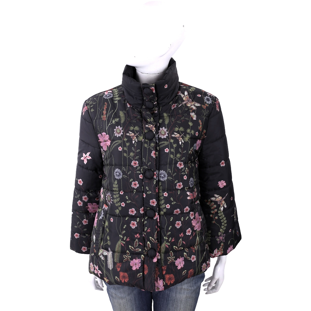 BLUGIRL-FOLIES 和風剪裁黑色花草圖騰科技棉保暖外套