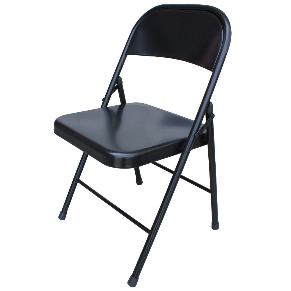 頂堅 室內外折疊椅/會客 椅消光黑 6件/組-免組