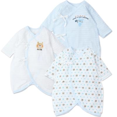 【兩件入】新生兒短袖純棉綁帶連身和尚衣(共兩款)
