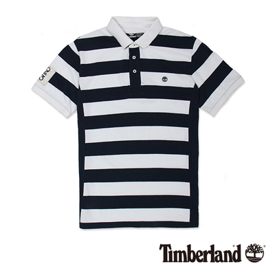Timberland-男款深藍黑雙色拼接短袖Polo衫