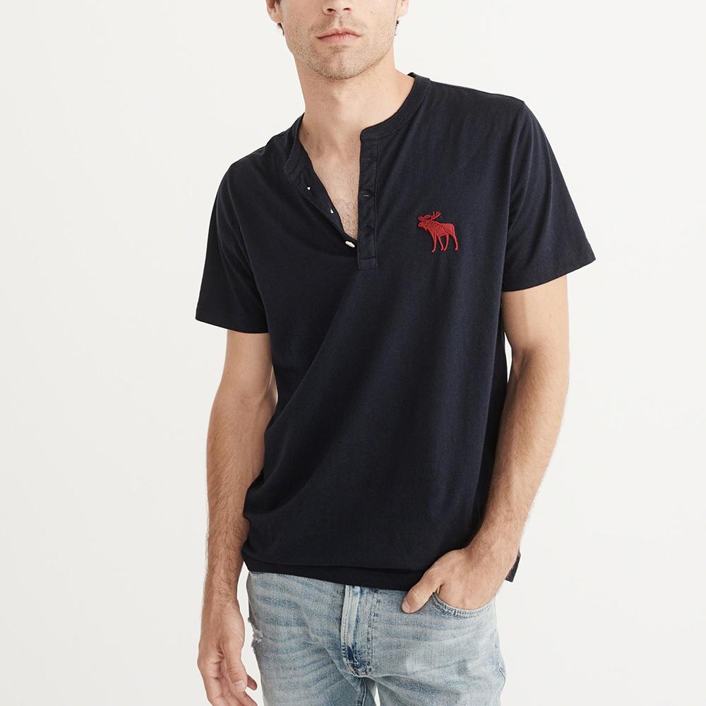 A&F 經典刺繡大麋鹿亨利短袖T恤-深藍色 AF Abercrombie
