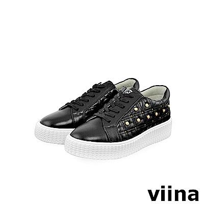 viina -休閒系列-牛皮珍珠球鞋-黑