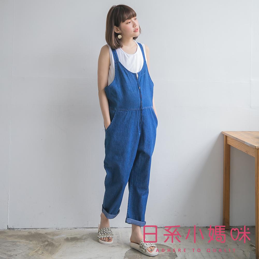 日系小媽咪孕婦裝-台灣製孕婦褲~復古刷色拉鍊式牛仔吊帶褲M-XL