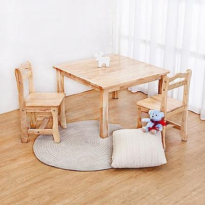 Boden-泰迪全實木兒童遊戲桌椅+椅凳組合(一桌二椅)-免組裝-75x75x45cm
