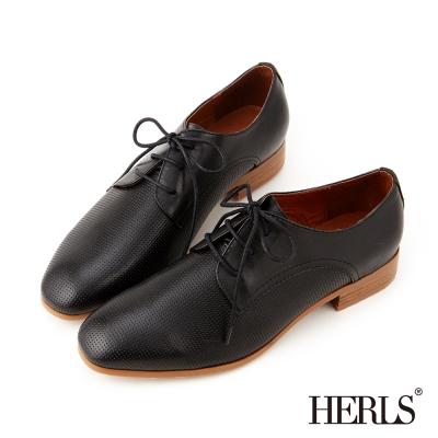 HERLS 全真皮經典雋永 復古壓紋德比鞋-黑色