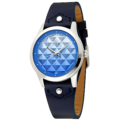 ELLE  立體漸層菱格無時標皮革腕錶-深藍/銀色-35mm