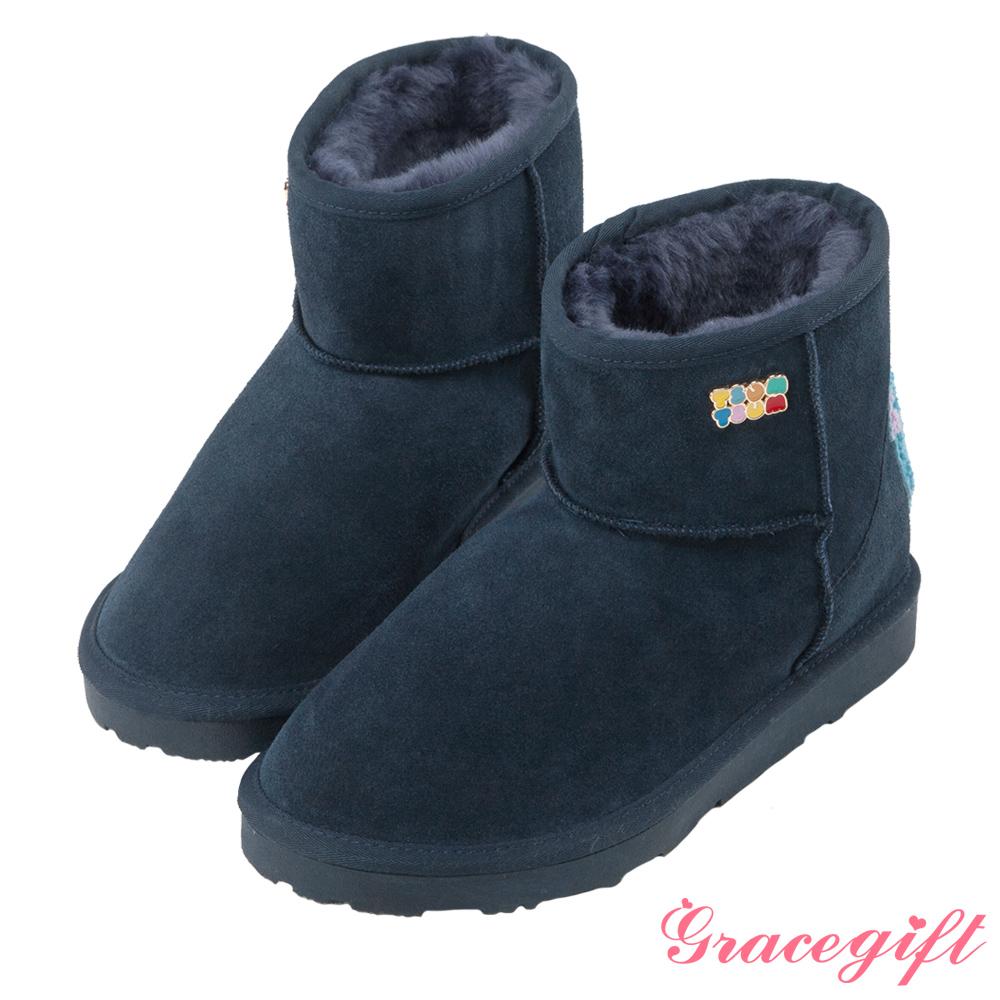 Disney collection by grace gift家族立體短筒雪靴 深藍