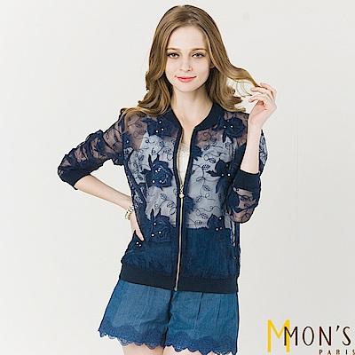 MONS 甜美繡花歐根紗休閒外套 共二色-藍色