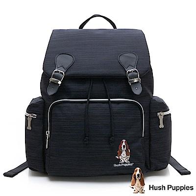 Hush Puppies 韓版多口袋休閒後背包-黑/藍