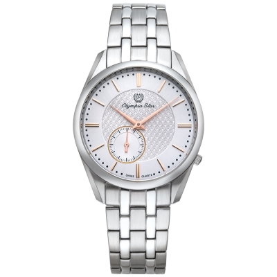 Olympia Star奧林比亞之星 經典都會系列小秒針時尚腕錶-白/36mm