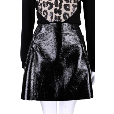 Max Mara-SPORTMAX 黑色亮面仿皮設計及膝裙