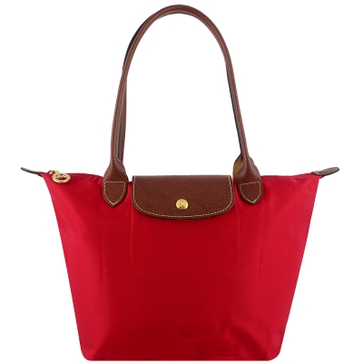 Longchamp 長背帶折疊水餃包(絳紅色/小)