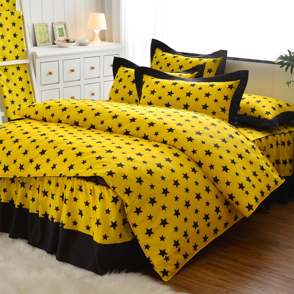 原創本色 星空 吸濕排汗雙人四件式兩用被床罩組 黃