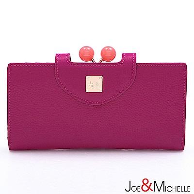 J&M 真皮愛蜜莉框釦長夾 豔麗桃