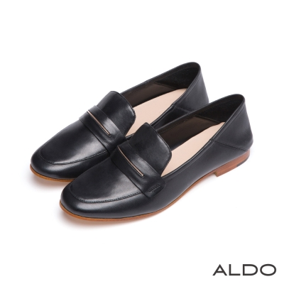 ALDO-原色真皮復古金屬木紋跟樂福鞋-尊爵黑色