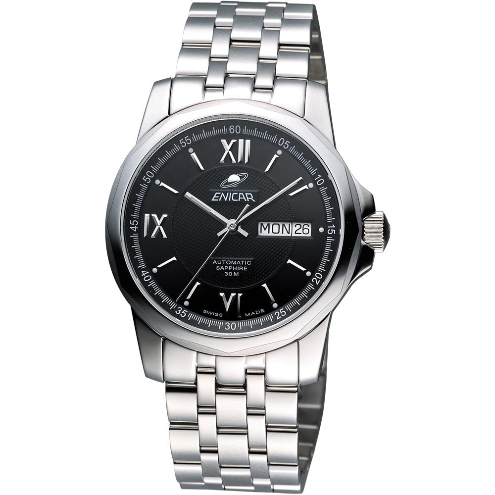 ENICAR 英納格  羅馬經典日曆機械腕錶-黑/39mm