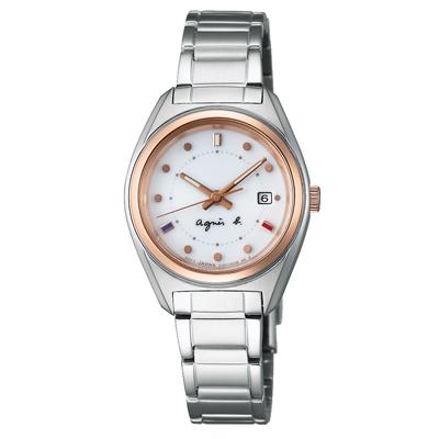 agnes b. 太陽能 漫步巴黎時尚設計女錶(BY2002P1)-銀x玫瑰金框/28mm