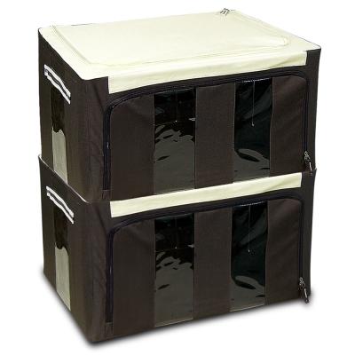 WallyFun 第三代-雙U摺疊收納箱 -棕色48L (超值2入) ~超強荷重200kg