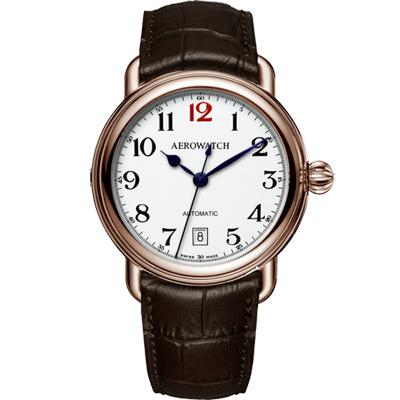 AEROWATCH 復刻紳士時尚機械腕錶-玫瑰金框x咖啡/40mm