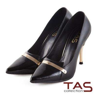 TAS-時髦一字金屬鋁片裝飾拼接尖頭高跟鞋-時尚黑