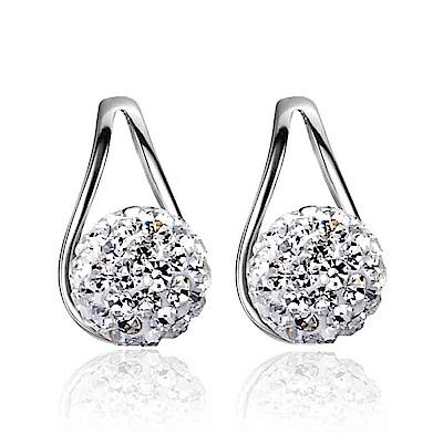 梨花HaNA 韓國925銀水滴框飾水鑽球球耳環