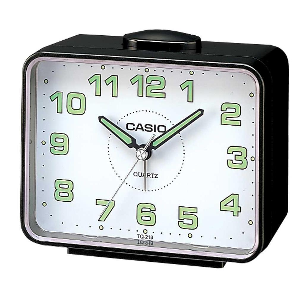【CASIO 】夜間指針桌上方型簡約鬧鐘(黑X白面)