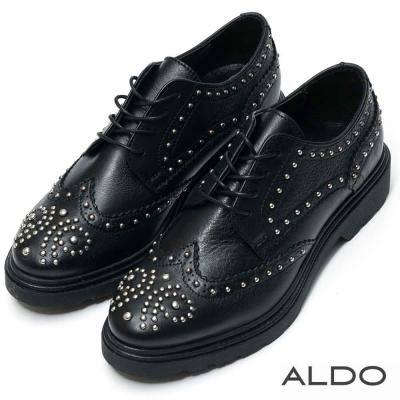 ALDO 原色真皮幾何鉚釘綁帶式牛津鞋~尊爵黑色