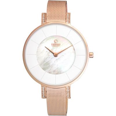 OBAKU 采耀時刻晶鑽米蘭珍珠貝腕錶-白彩貝x玫瑰金/34mm