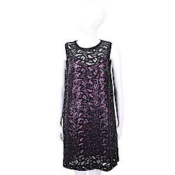 SI-JAY 亮片綴飾黑色蕾絲兩件式洋裝